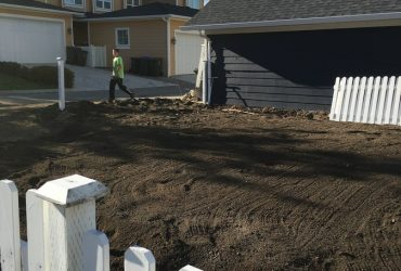 leveling ground to prepare for SOD installation