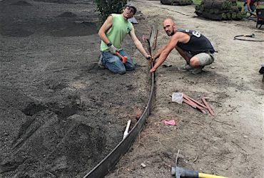 team installing sod in a backyard