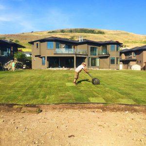 man installing Sod in a residences backyard