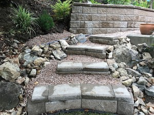steps in yard made from allan blocks