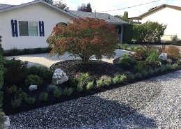 Rock work and bark mulch