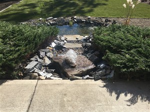 Beautiful backyard landscape design with water feature.