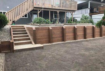 Wood Tie Retaining Wall & Turf Install (1)