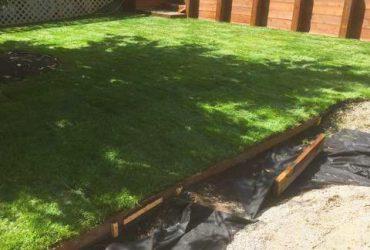 Wood Tie Retaining Wall & Turf Install (12)
