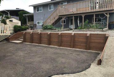 Wood Tie Retaining Wall & Turf Install (2)
