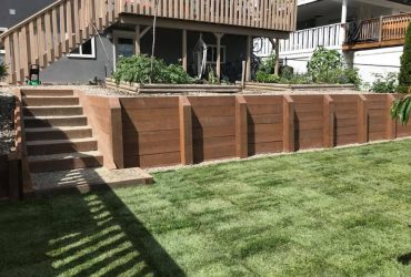 Wood Tie Retaining Wall & Turf Install (5)