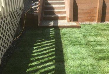 Wood Tie Retaining Wall & Turf Install (6)