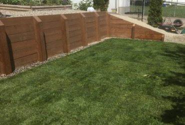 Wood Tie Retaining Wall & Turf Install (9)